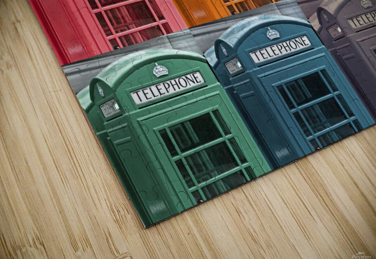 Multicoloured telephone boxes HD Sublimation Metal print