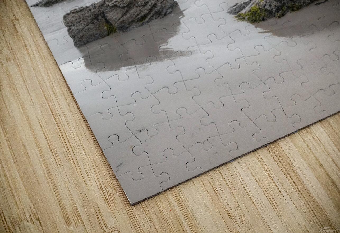 Rocks on a sandy beach HD Sublimation Metal print