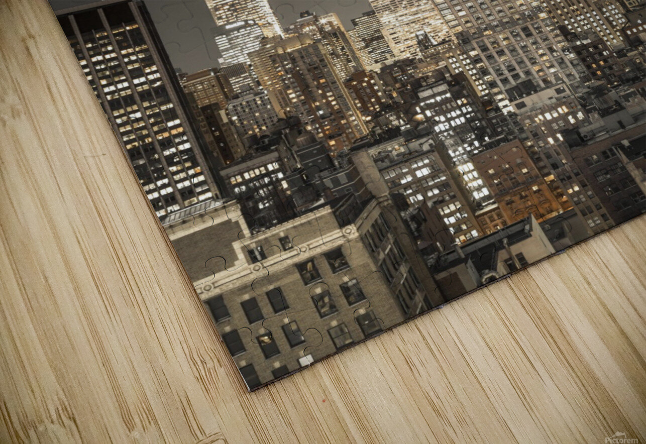 Empire State Building with New York City Manhattan skyline with skyscrapers HD Sublimation Metal print