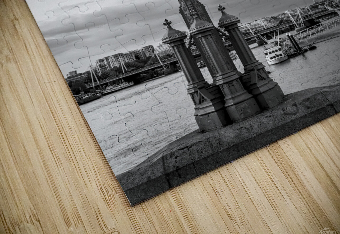 Street lamp with London Eye, London, UK HD Sublimation Metal print