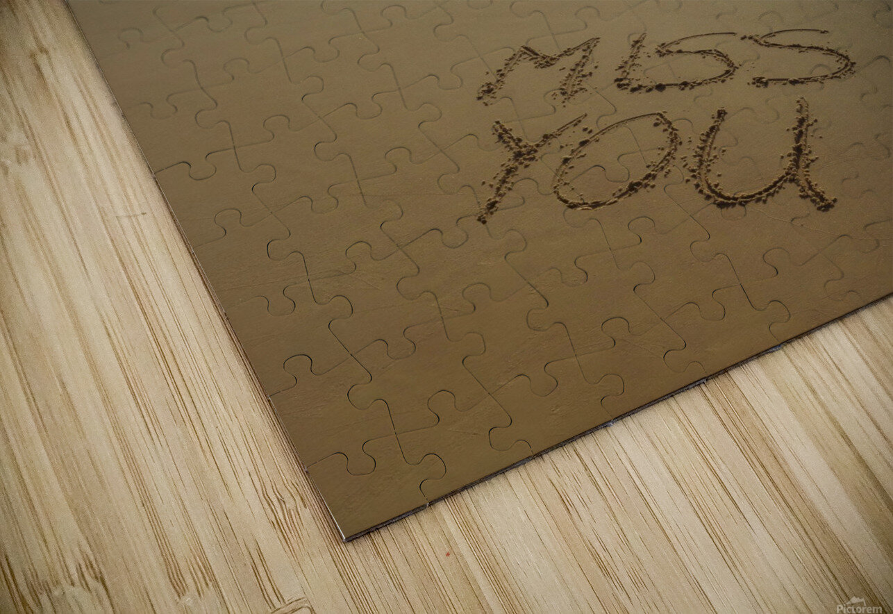 Miss You written on the beach HD Sublimation Metal print