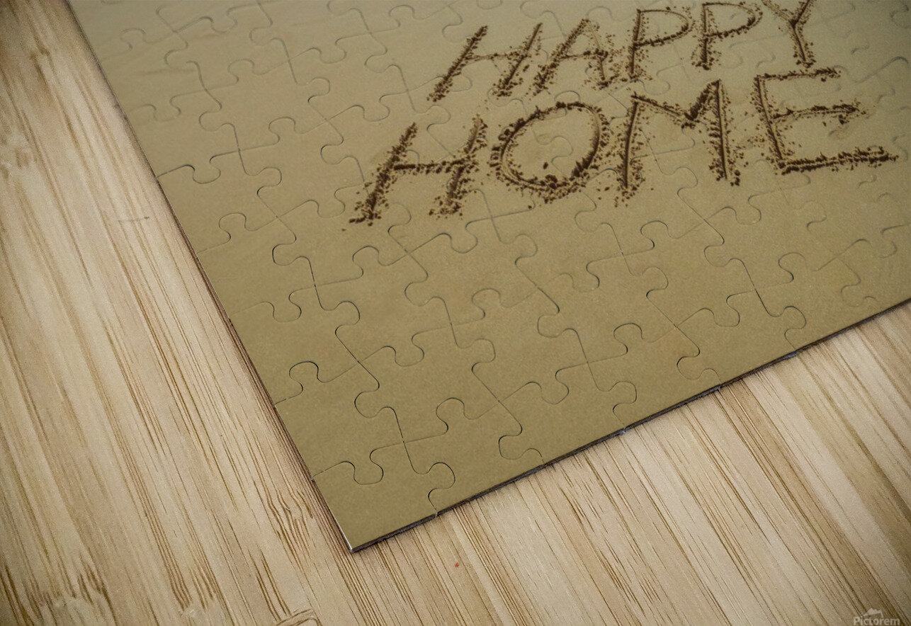 Happy Home written in sand on the beach HD Sublimation Metal print
