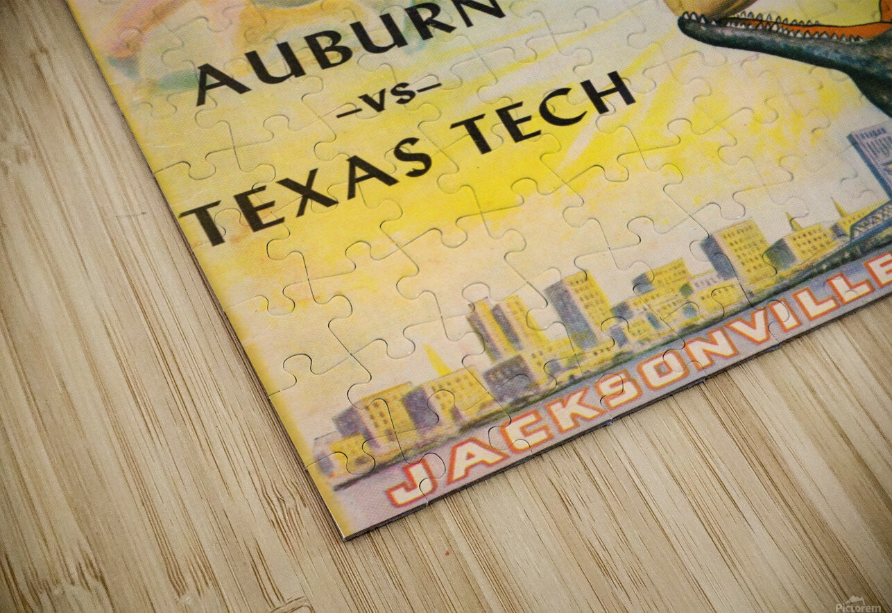 1954 Gator Bowl Auburn vs. Texas Tech HD Sublimation Metal print