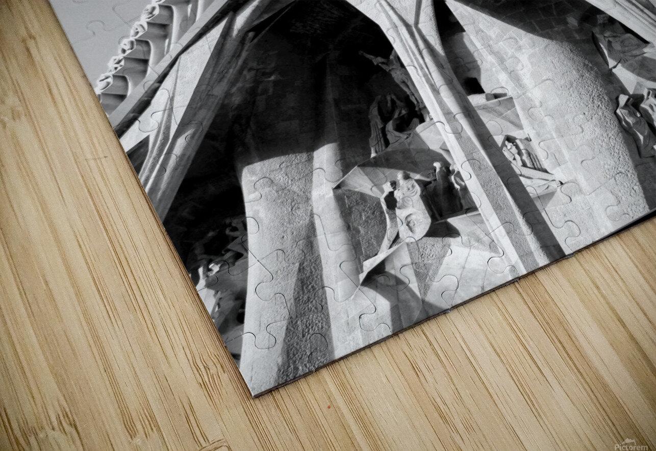 Barcelona Cathedral - La Sagrada Familia in black and white HD Sublimation Metal print