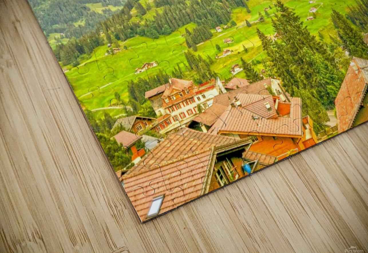 Golden Rays in the Mountains Alpine Village Switzerland HD Sublimation Metal print