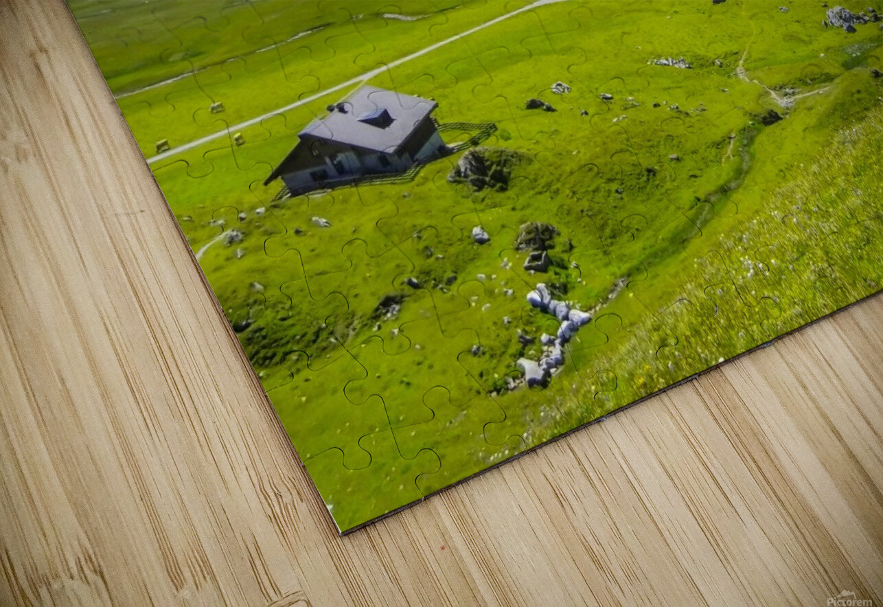 High Alps Village in Spring Switzerland HD Sublimation Metal print