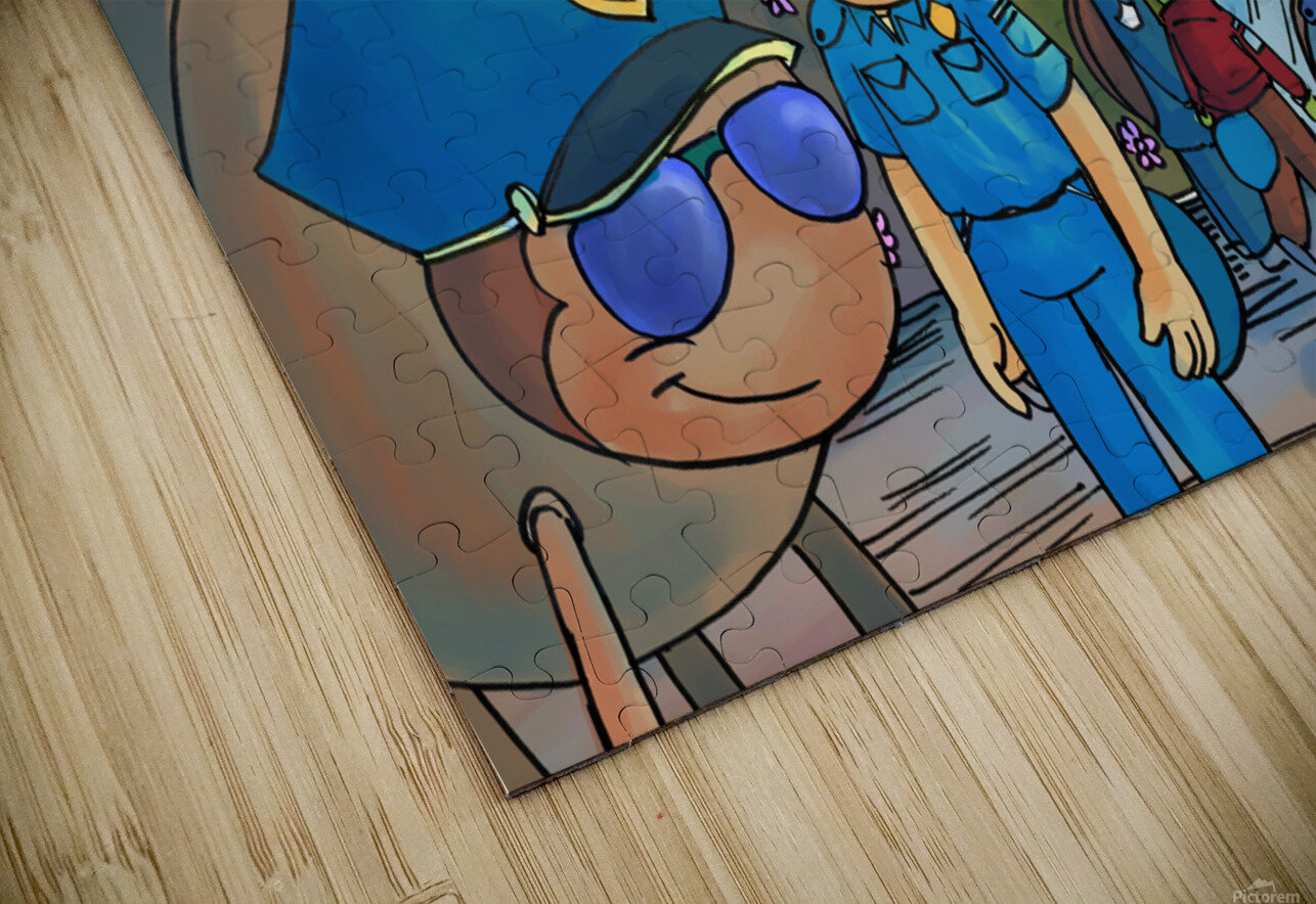 At the Police Department - Places in Bugville Collection 3 of 4 HD Sublimation Metal print