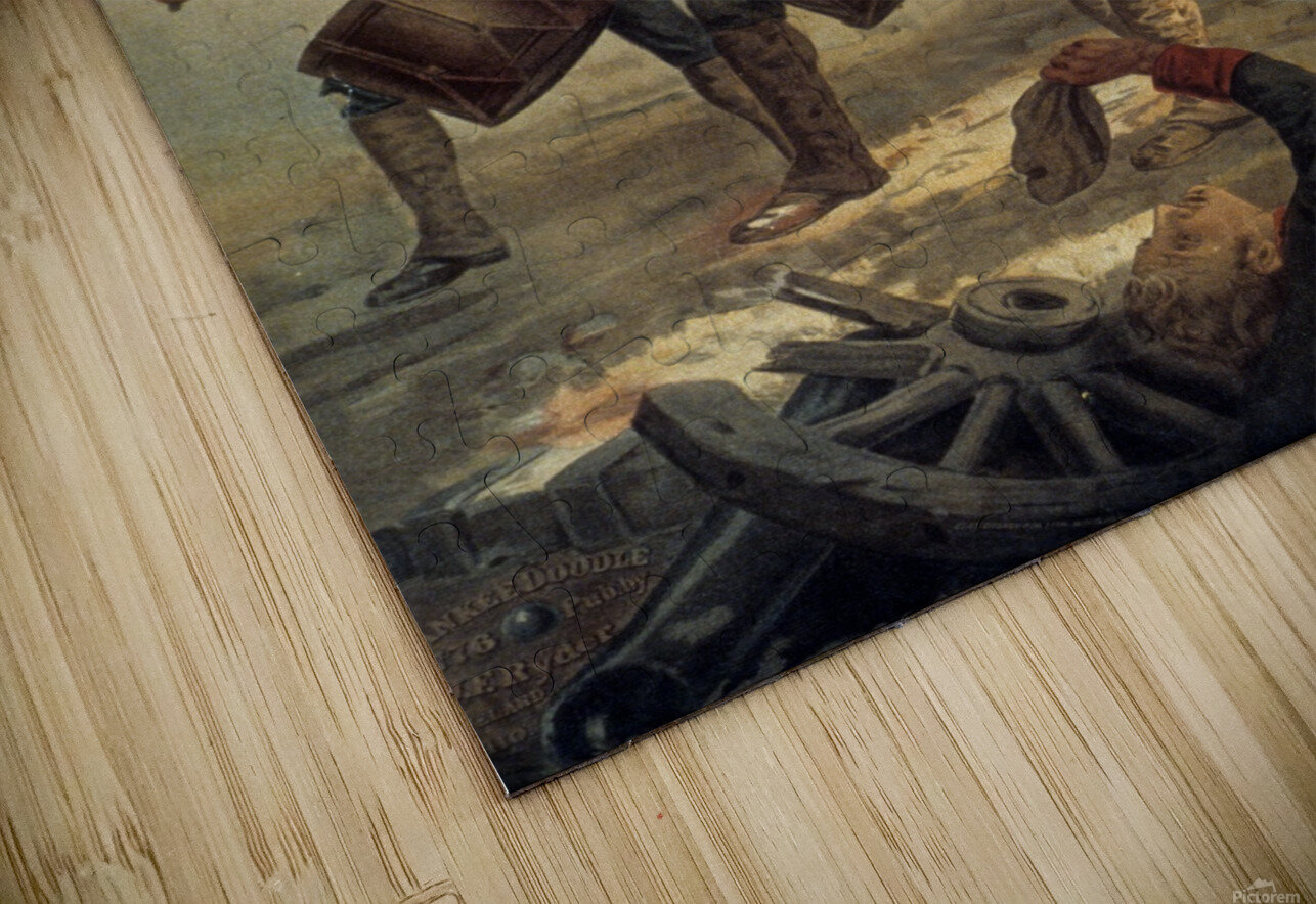 A painting of three men marching through a battle scene HD Sublimation Metal print