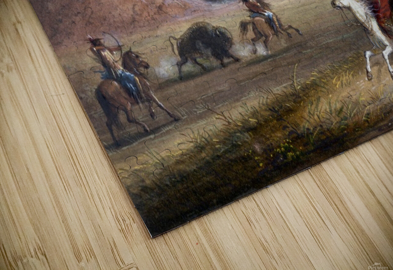 Buffalo Hunting, near Independence Rock HD Sublimation Metal print