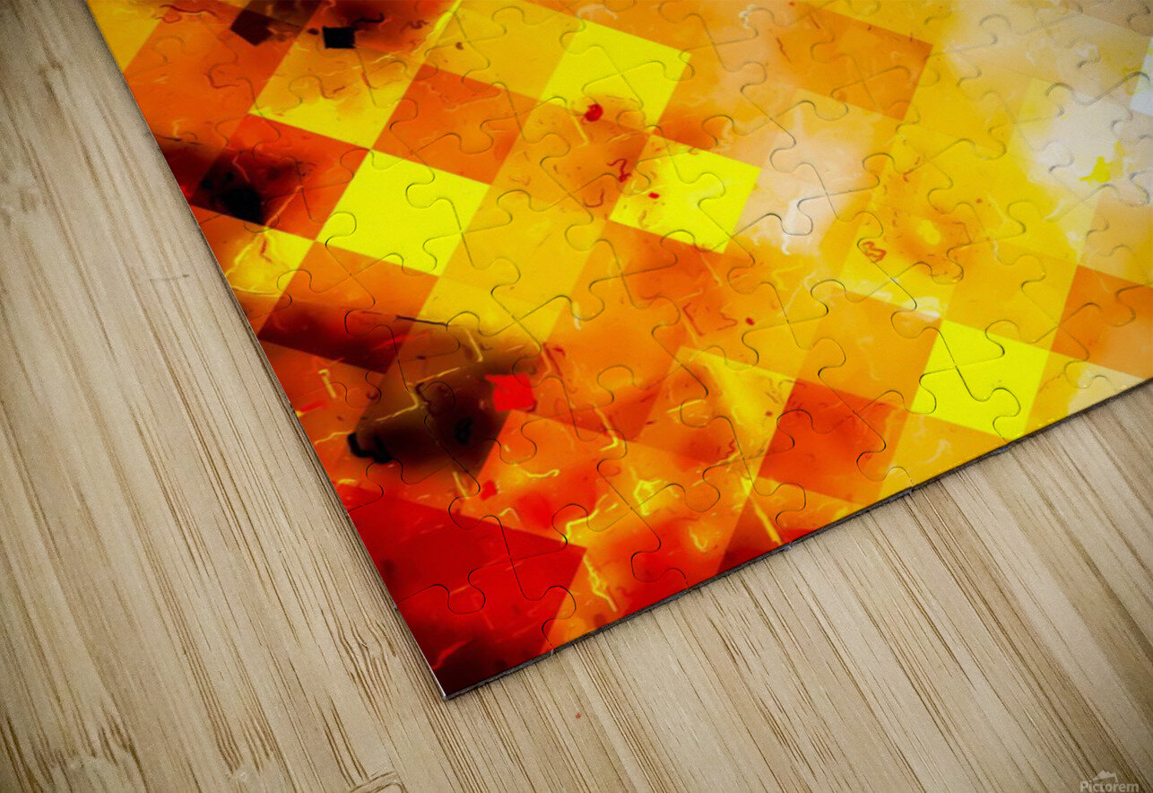 geometric pixel square pattern abstract in brown and yellow HD Sublimation Metal print