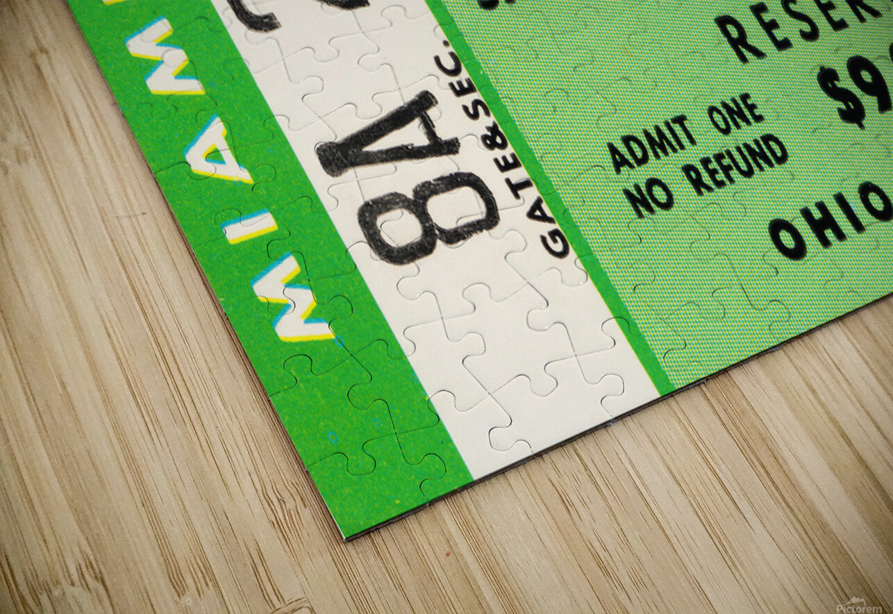 1977 Miami Hurricanes vs. Ohio State Football Ticket Canvas HD Sublimation Metal print