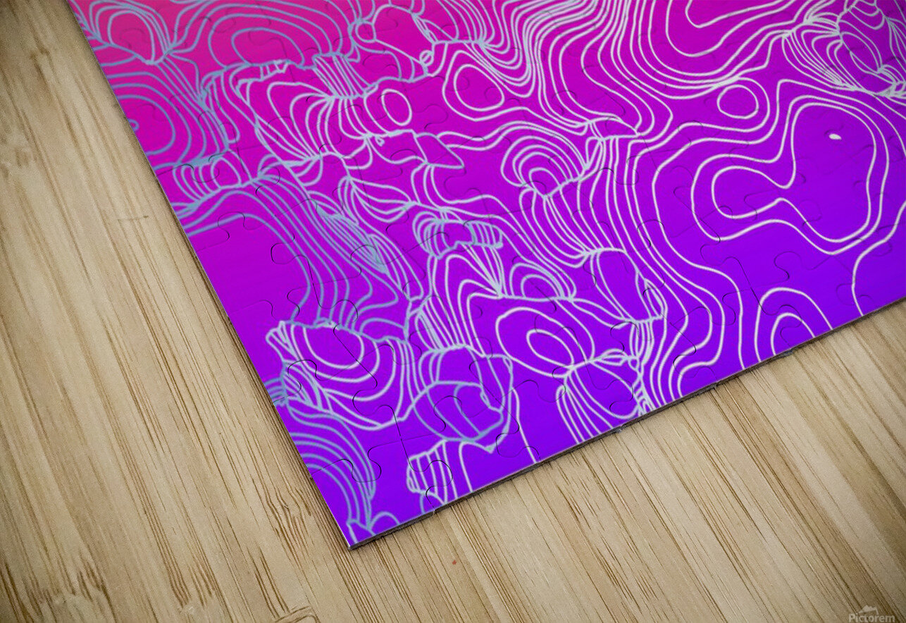 geometric fractal line abstract background in purple orange HD Sublimation Metal print