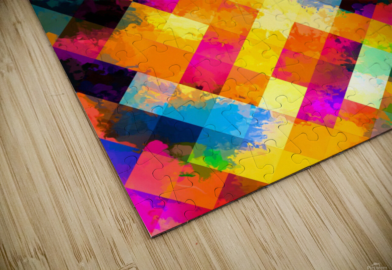 geometric square pixel pattern abstract background in yellow blue green pink orange HD Sublimation Metal print