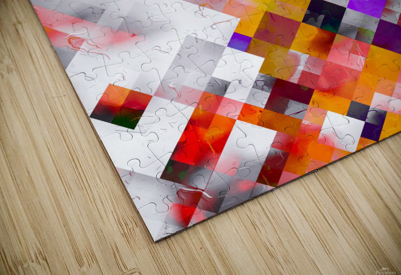 colorful geometric square pixel pattern abstract art in orange red purple HD Sublimation Metal print