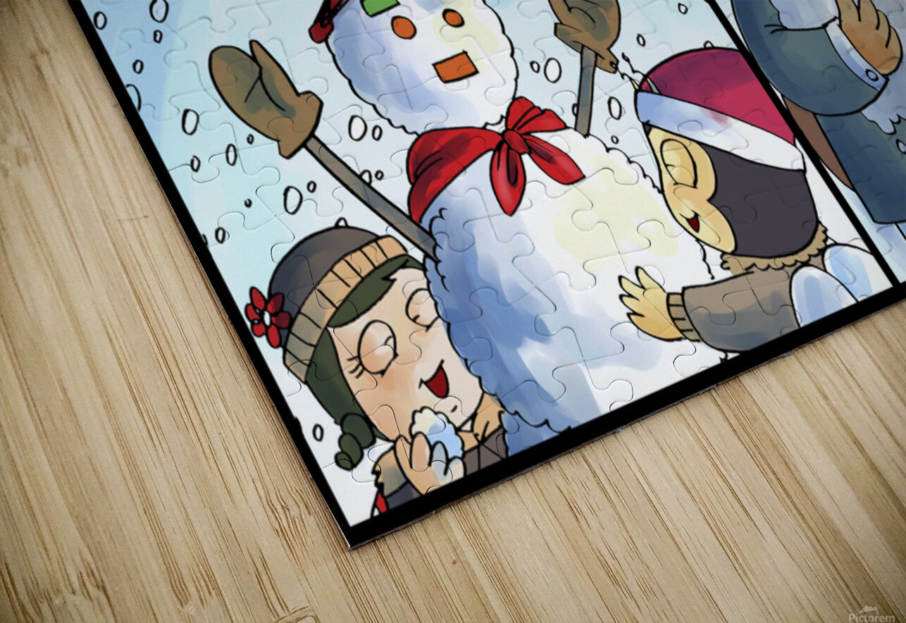 Winter Wonderland Fun   Snowballs  Snowforts and Snowman   4 panel Favorites for Kids Room and Nursery   Bugville Critters HD Sublimation Metal print