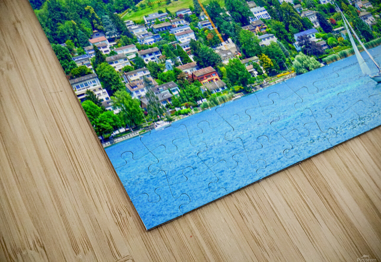 Sailboat On Lake Lucerne with Alpine Village in Background HD Sublimation Metal print
