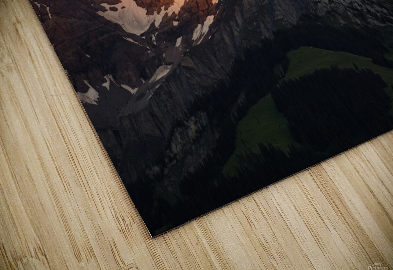 Mountain Bathed in the Golden Rays of the Sun at Sunset in Switzerland 3 of 3 HD Sublimation Metal print