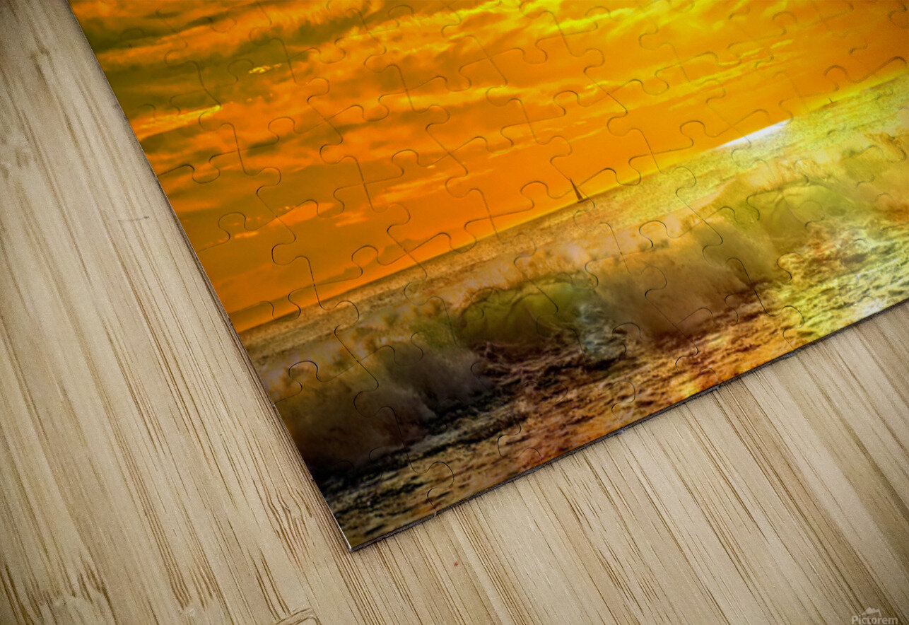 Wild Waves Break as the Sun Sets over Catalina Island in Newport Beach California HD Sublimation Metal print