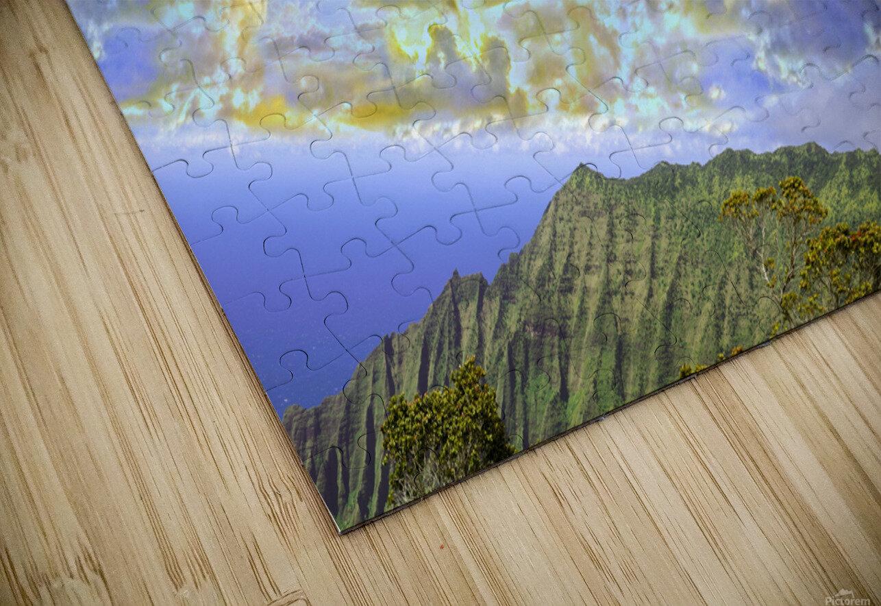Sunset at Puu O Kila Lookout Kohala Mountains on the Island of Kauai in Hawaii Panorama HD Sublimation Metal print
