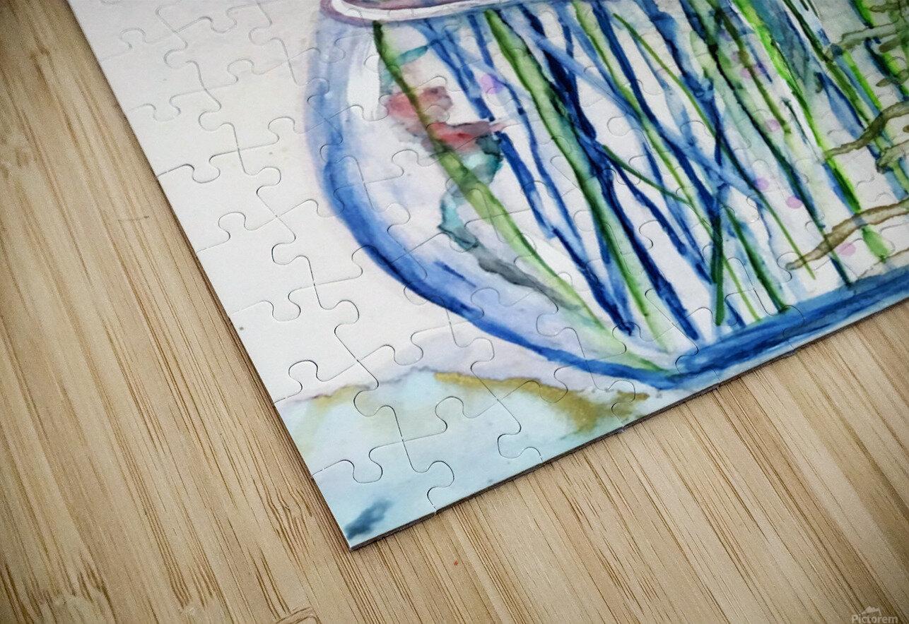 Blue Floral HD Sublimation Metal print