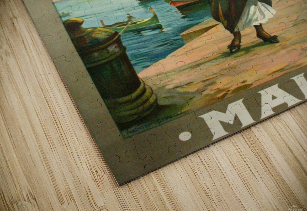 Original travel poster for Malta in 1900 HD Sublimation Metal print