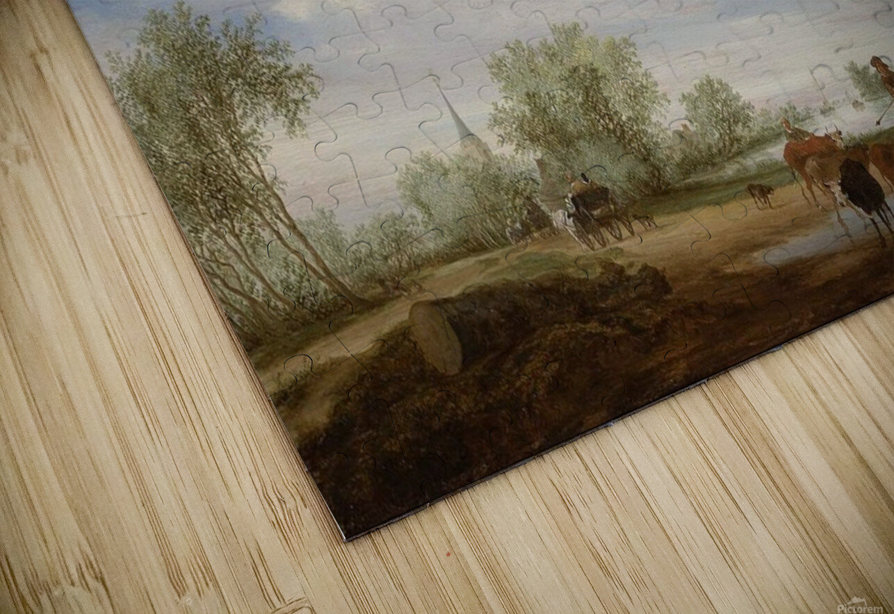 Landscape with a Road alongside a River HD Sublimation Metal print