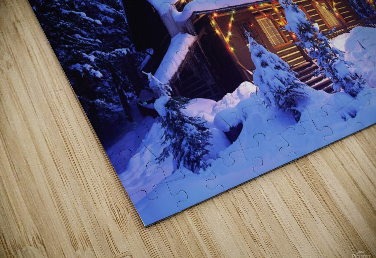 Cabin in the woods illuminated by Christmas lights HD Sublimation Metal print
