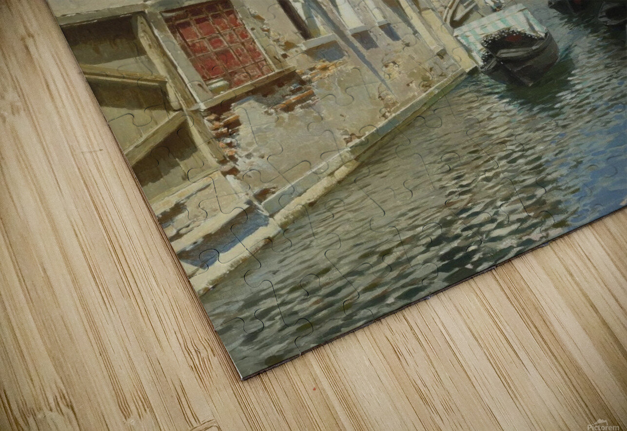 Venetian canal with the campanile of the Frari in the distance HD Sublimation Metal print