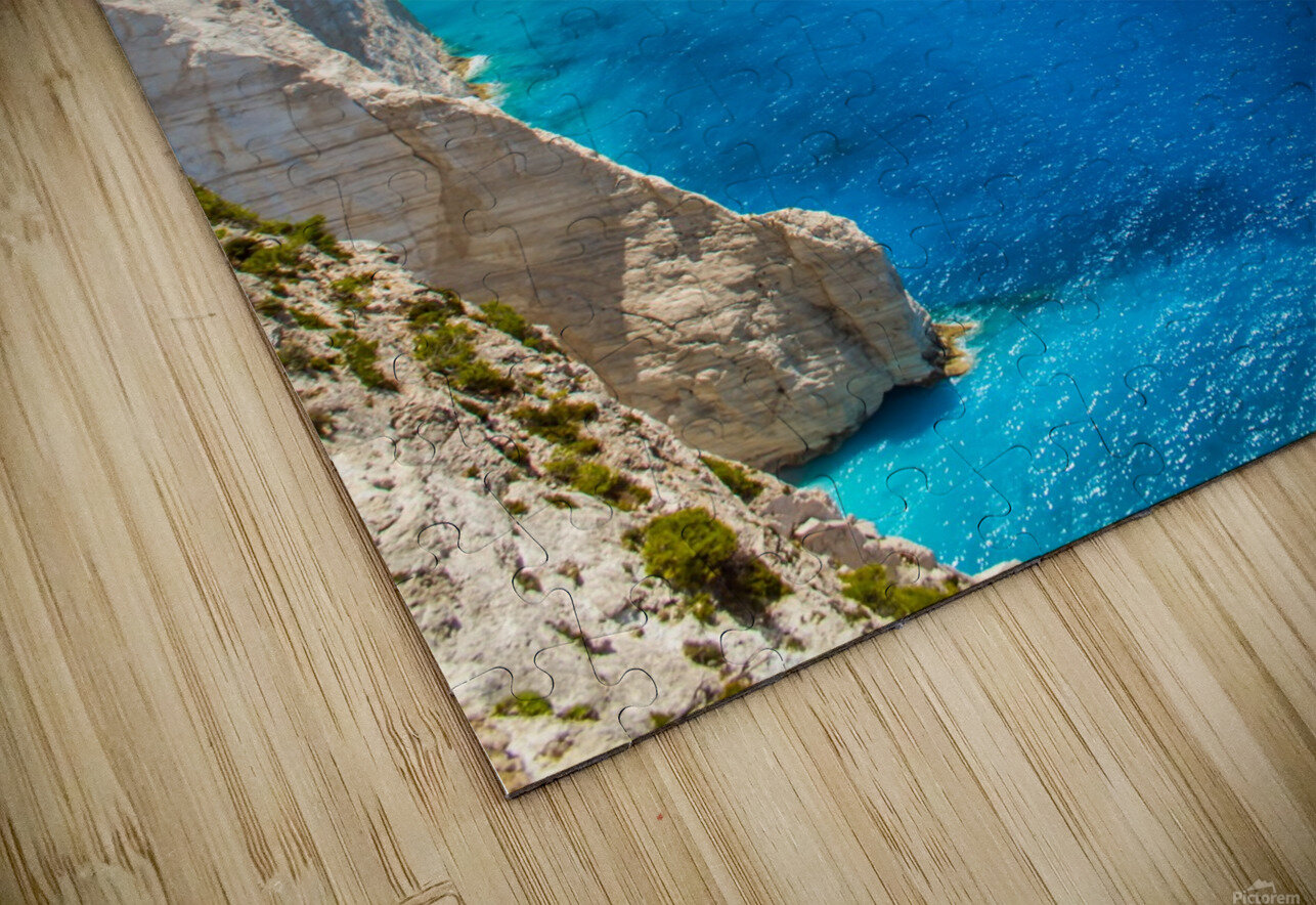 Navagio beach with shipwreck and flowers on Zakynthos island in Greece HD Sublimation Metal print