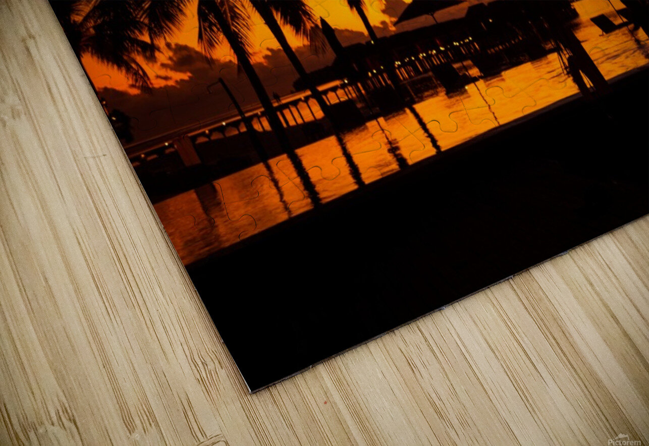 Palm trees silhouette on sunset tropical beach HD Sublimation Metal print