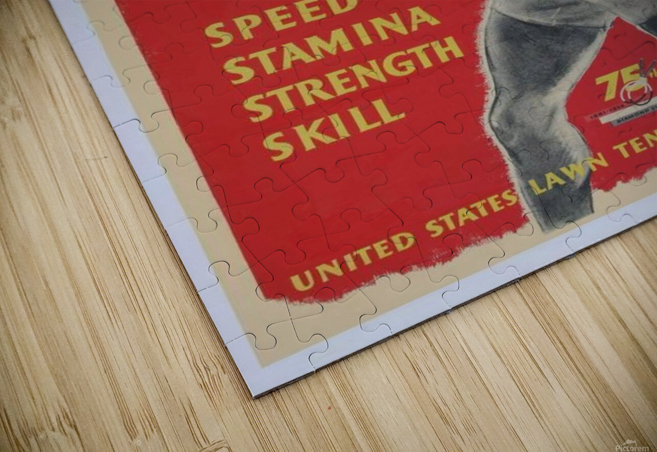 United States Lawn Vintage Tennis Poster in 1956 HD Sublimation Metal print