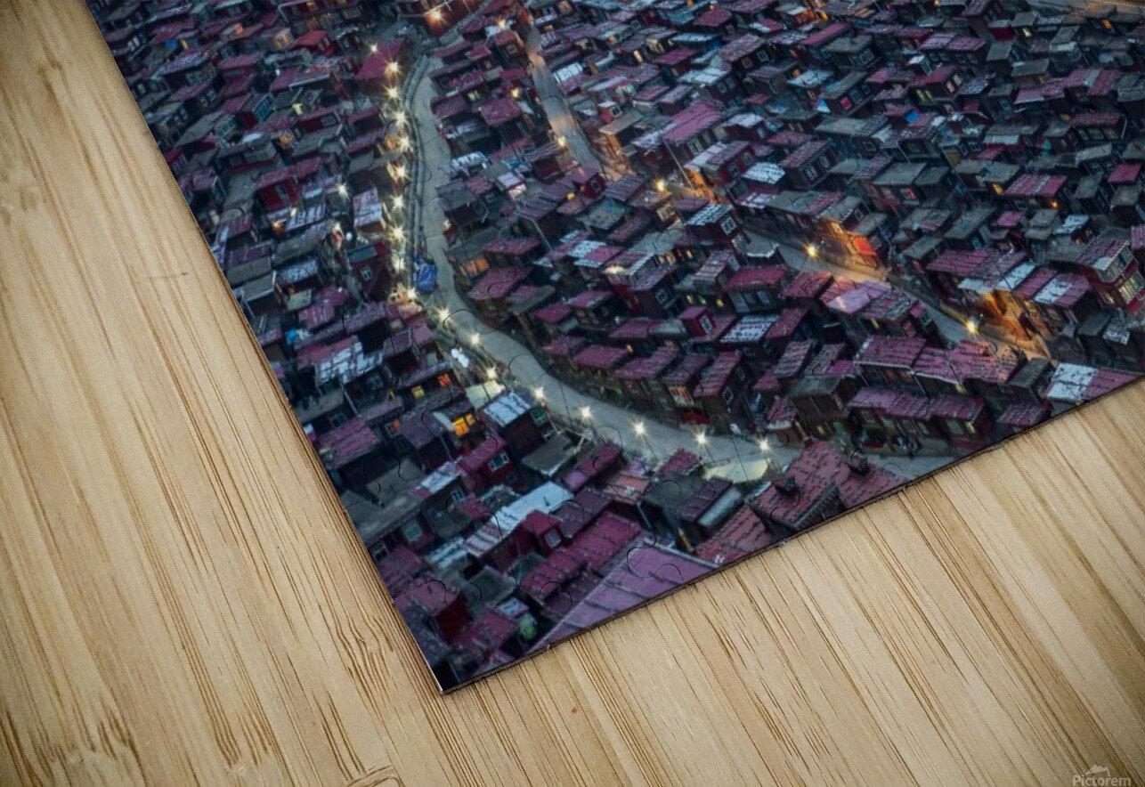 The Larung Ngarig Buddhist Academy at Night HD Sublimation Metal print