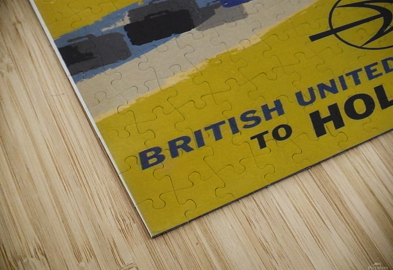 British United Airlines to Holland travel poster HD Sublimation Metal print