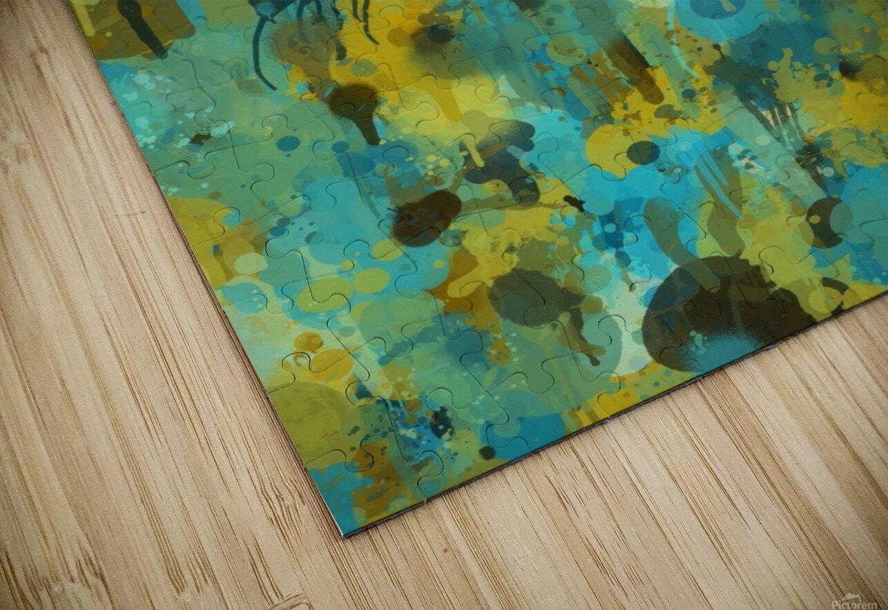 Paint Splattered Graffiti Green Blue Splash HD Sublimation Metal print