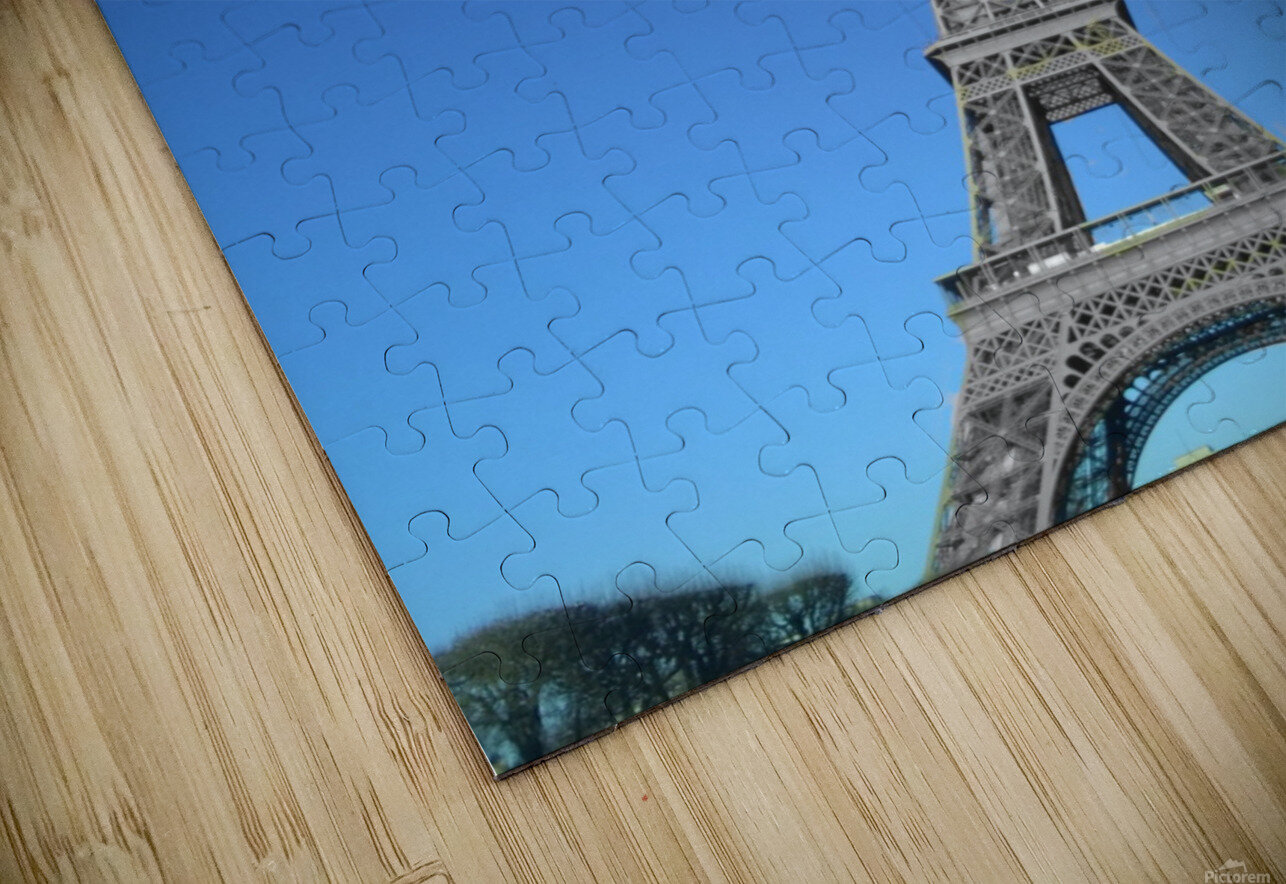 Eiffel tower Paris black and white with color HD Sublimation Metal print