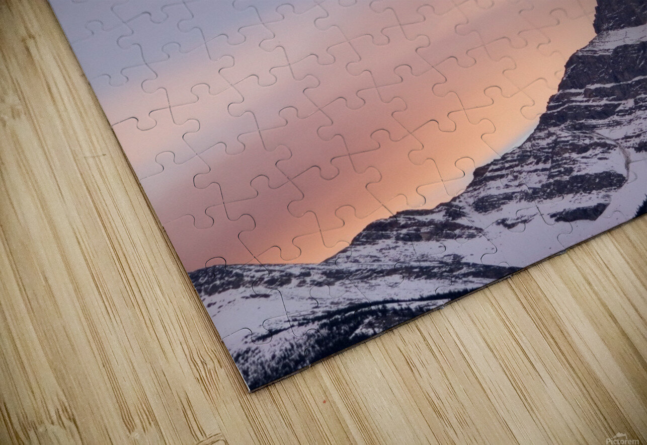 Clouds At Sunset Above Mountain Peaks, Kootenay Plains, Alberta, Canada HD Sublimation Metal print