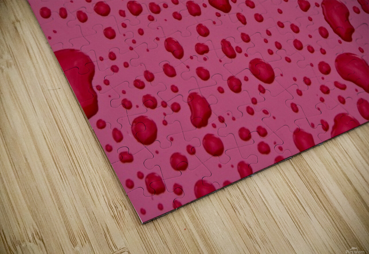 Water Drops On Pink Surface HD Sublimation Metal print