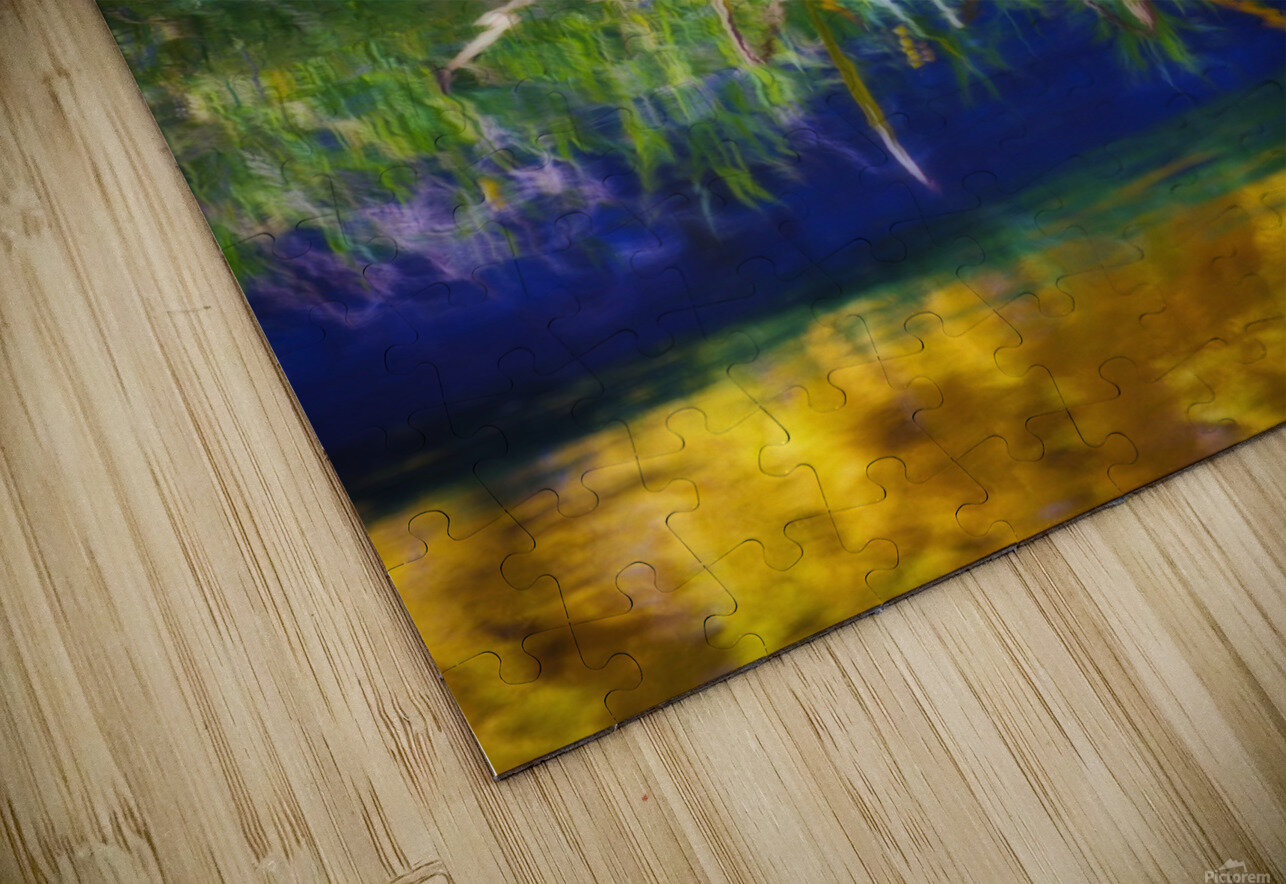 Reeds Reflecting On The Water; St. Albert, Alberta, Canada HD Sublimation Metal print