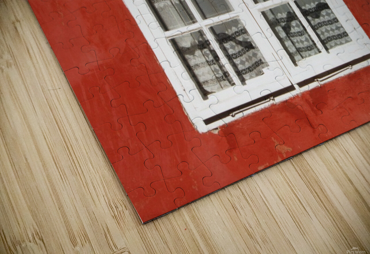 Red Timber House And Window Frame In The Old Town; Porvoo, Finland HD Sublimation Metal print