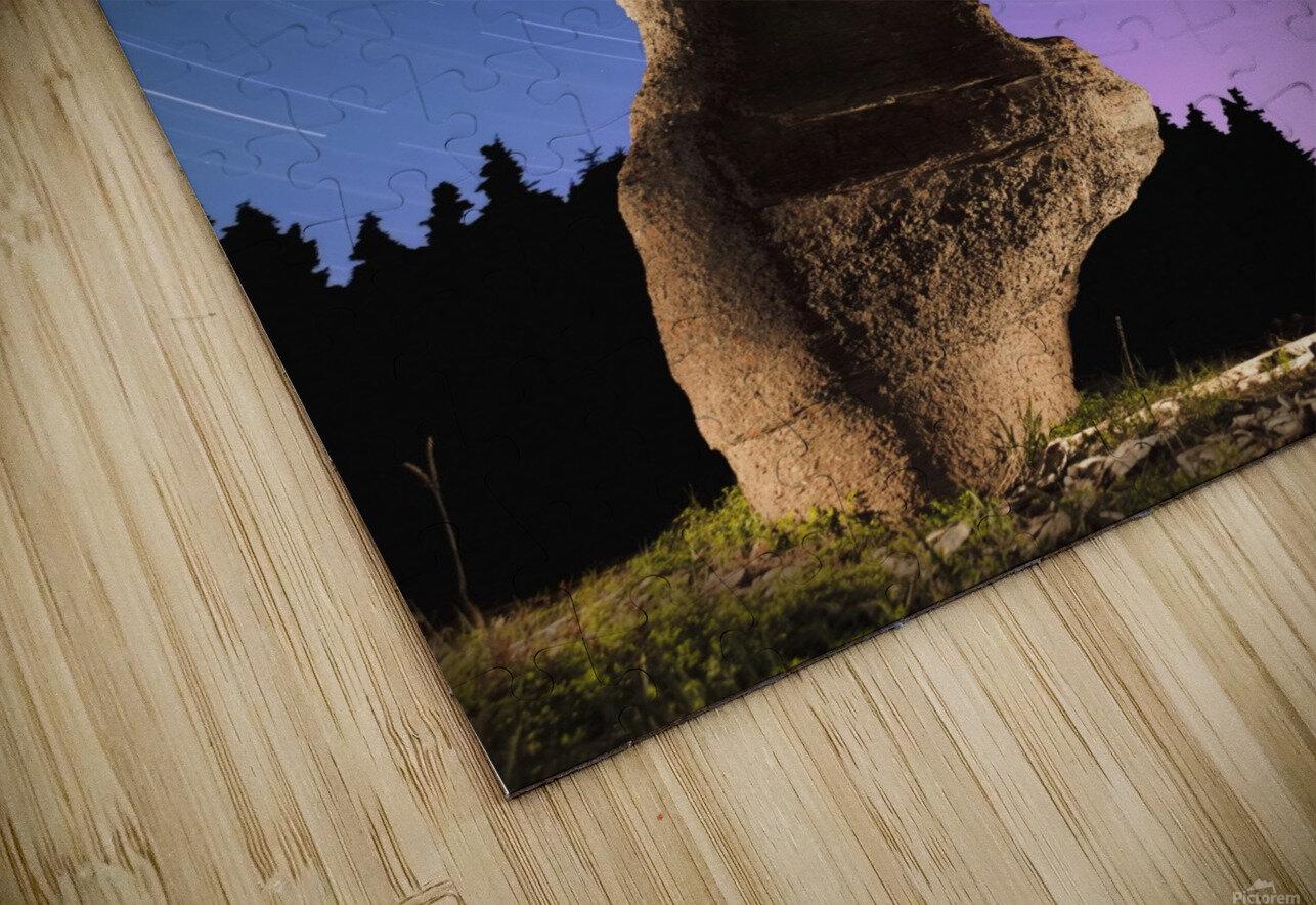 Light painting on monolith and star trails, Anse des Bonnes Femmes at Ile Niapiskau, Mingan Archipelago National Park Reserve of Canada, Cote-Nord, Duplessis region; Quebec, Canada HD Sublimation Metal print