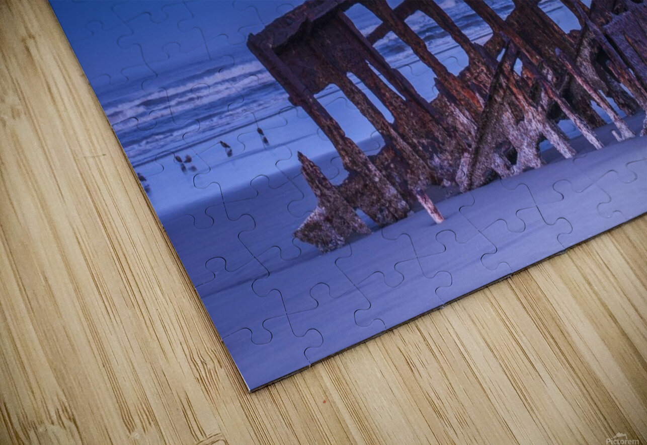 The moon sets over the wreck of the Peter Iredale; Oregon, United States of America HD Sublimation Metal print