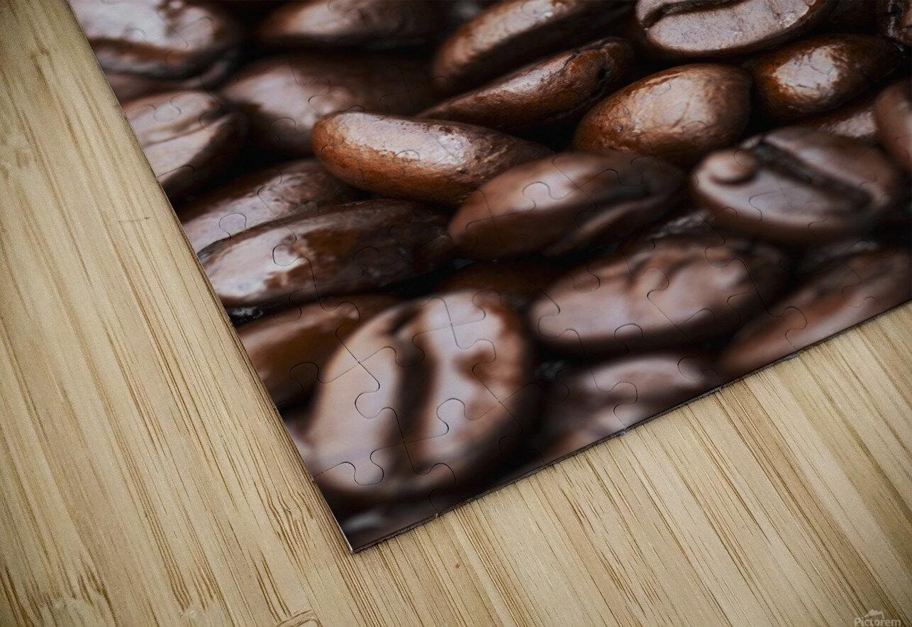 Medium dark roast Kona coffee beans close up; Holualoa, Big Island, Hawaii, United States of America HD Sublimation Metal print