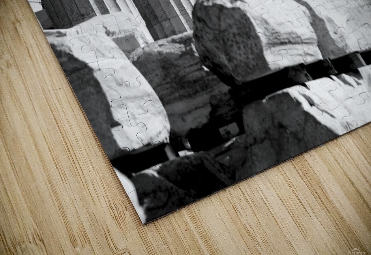 Mono piles of stones before ruined Parthenon; Athens, Attica, Greece HD Sublimation Metal print