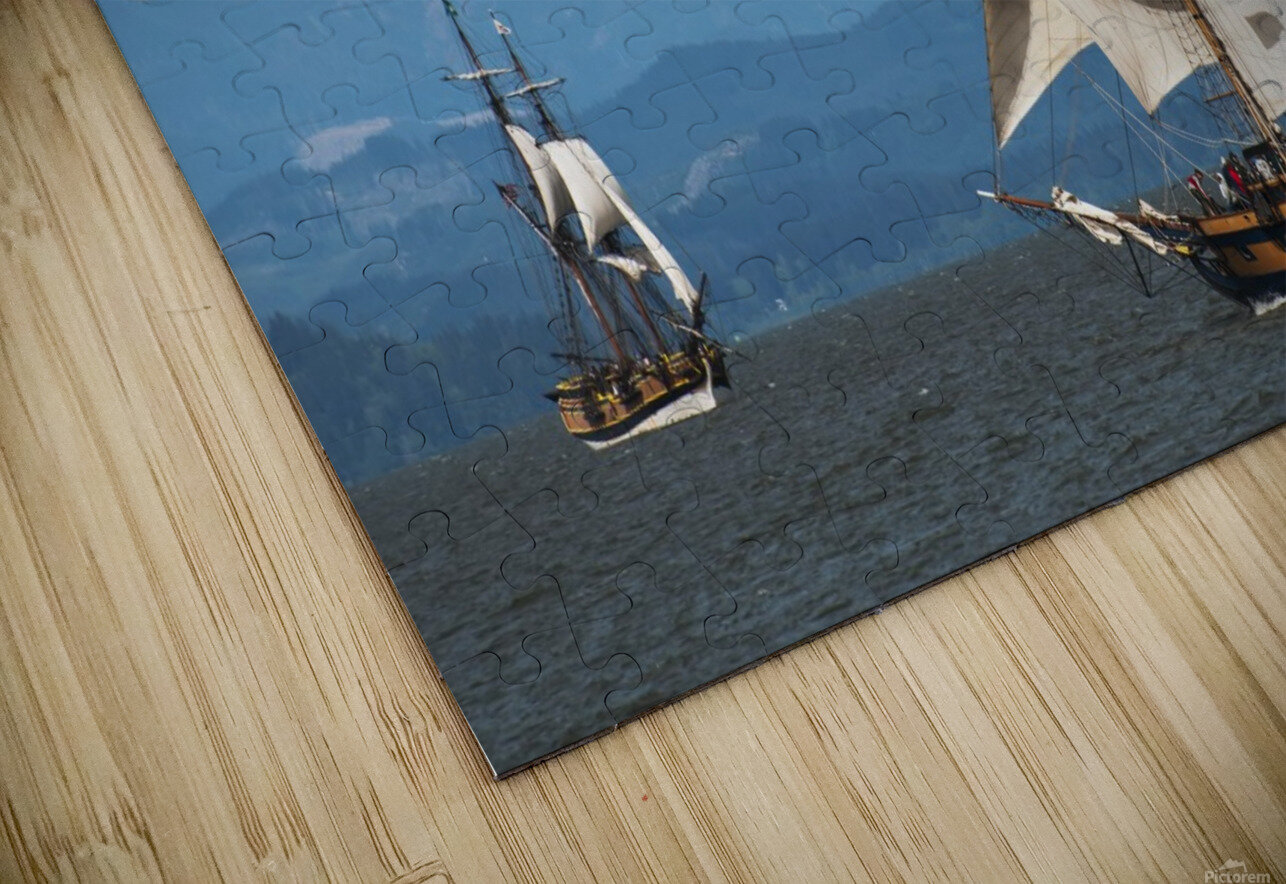 Tall ships sail on the Columbia River near Astoria; Oregon, United States of America HD Sublimation Metal print