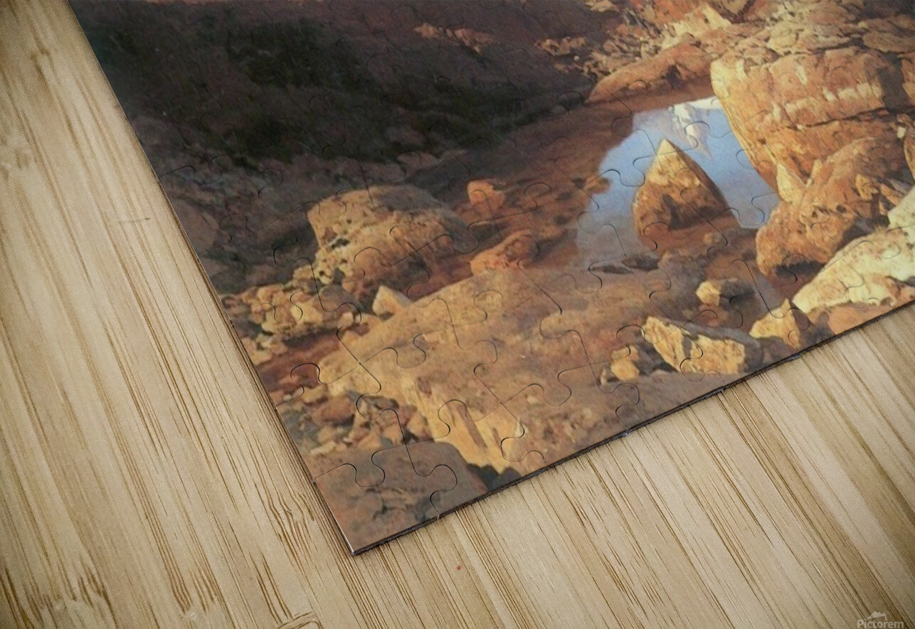 A lake surrounded by mountains HD Sublimation Metal print