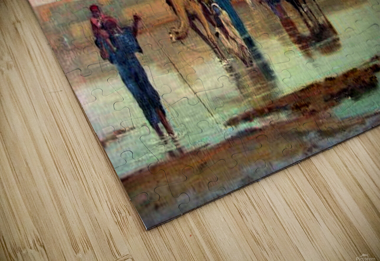 Crossing the river with the camels HD Sublimation Metal print