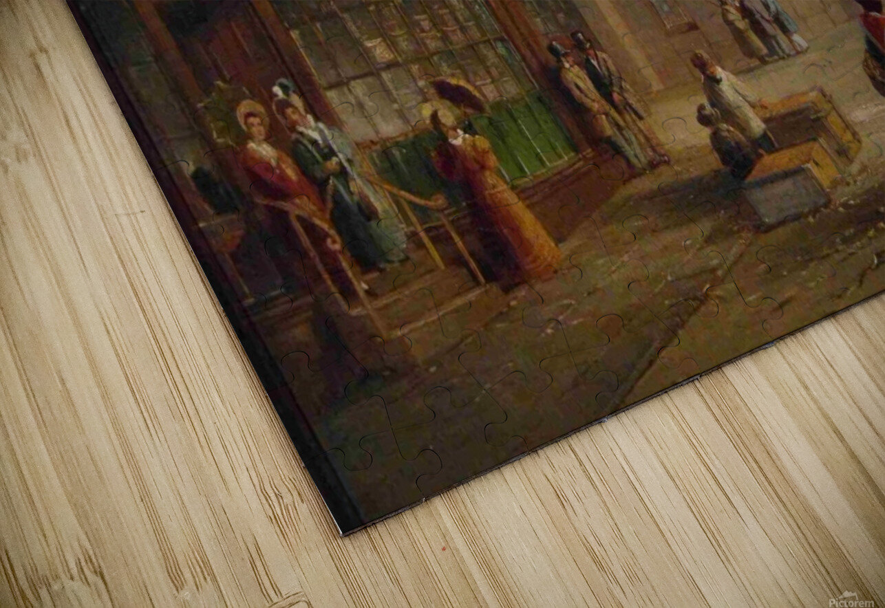 People talking in the street HD Sublimation Metal print