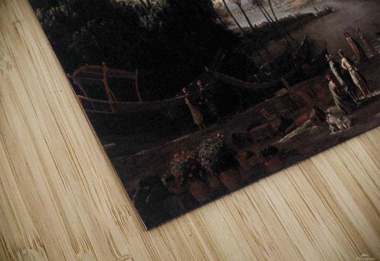 Paysage avec marchands HD Sublimation Metal print