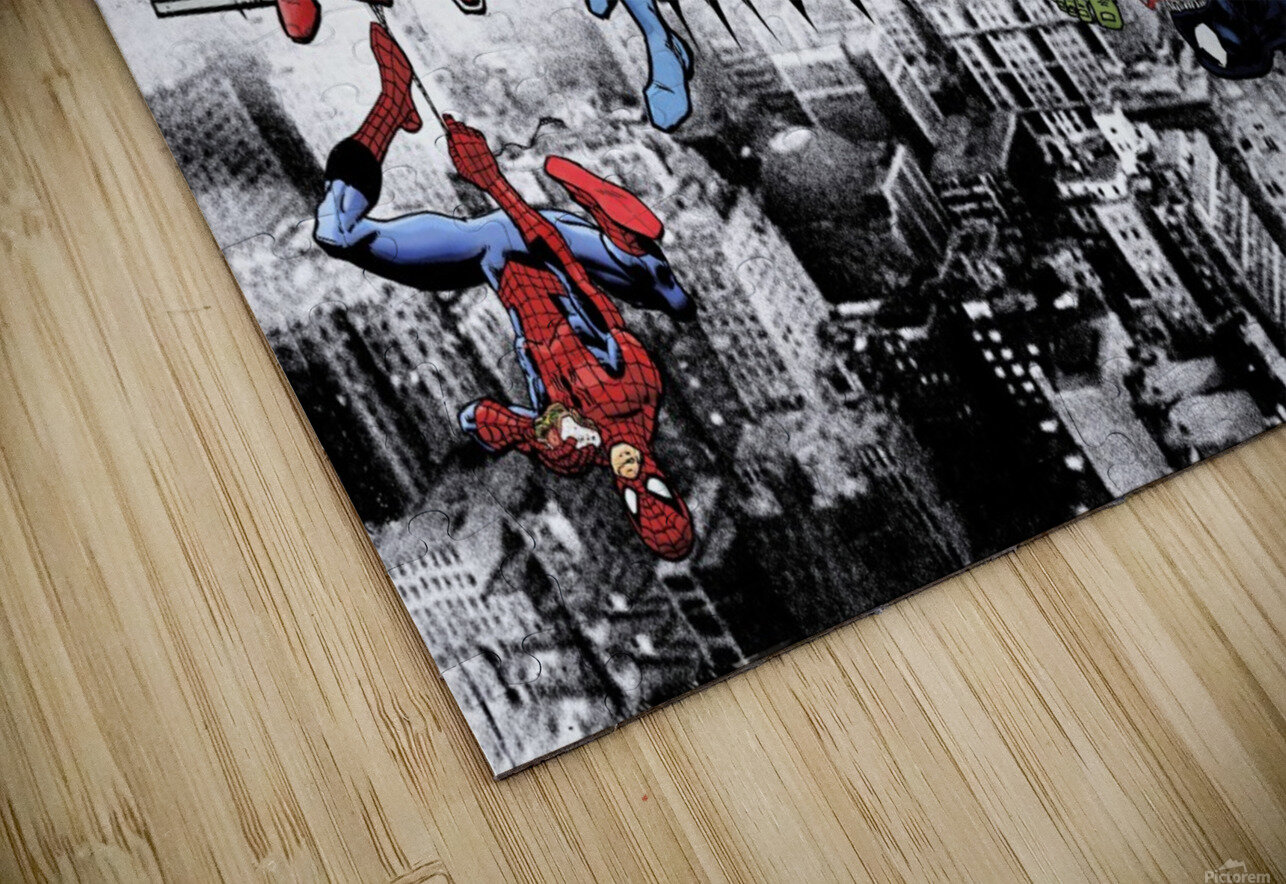 Marvel and DC Superheroes Lunch Atop A Skyscraper Featuring Captain America, Iron Man, Batman, Wolverine, Deadpool, Hulk, Flash & Superman HD Sublimation Metal print