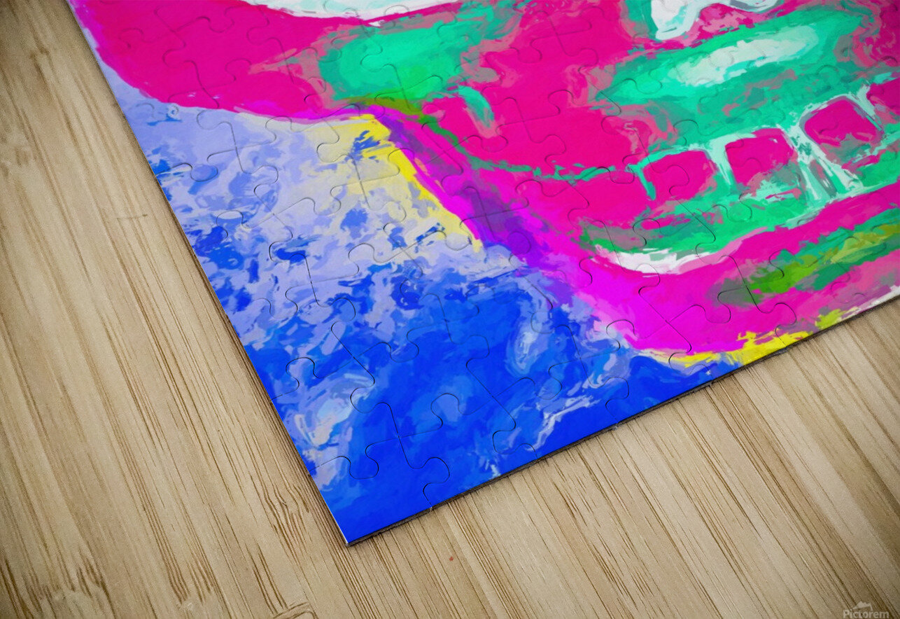 painting pink smiling skull head with blue and yellow background HD Sublimation Metal print